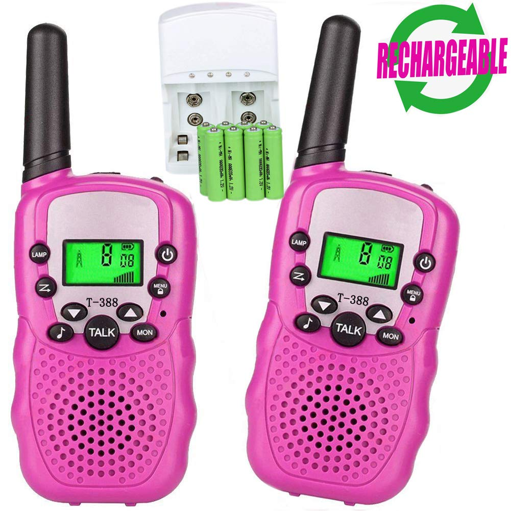 Walkie Talkies for Kids, 22 Channel 3 Mile Long Range Rechargeable FRS Two Way Radio Toys with Flashlight and LCD Screen for Boys&Girls.(Pack of 2, 8pcs Rechargeable Batteries , a Charger Included)