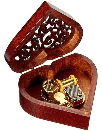 Cuzit - Caja de música de madera con forma de corazón, regalo para Navidad,