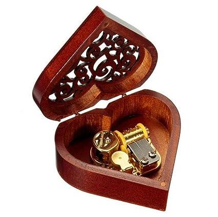 cuzit de madera en forma de corazón caja de música mecanismo musical caja regalo para Navidad/cumpleaños/día de San Valentín/aniversario de boda/día de la madre