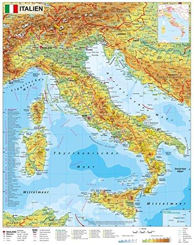Italien Physisch Wandkarte Poster Amazon De Stiefel Eurocart