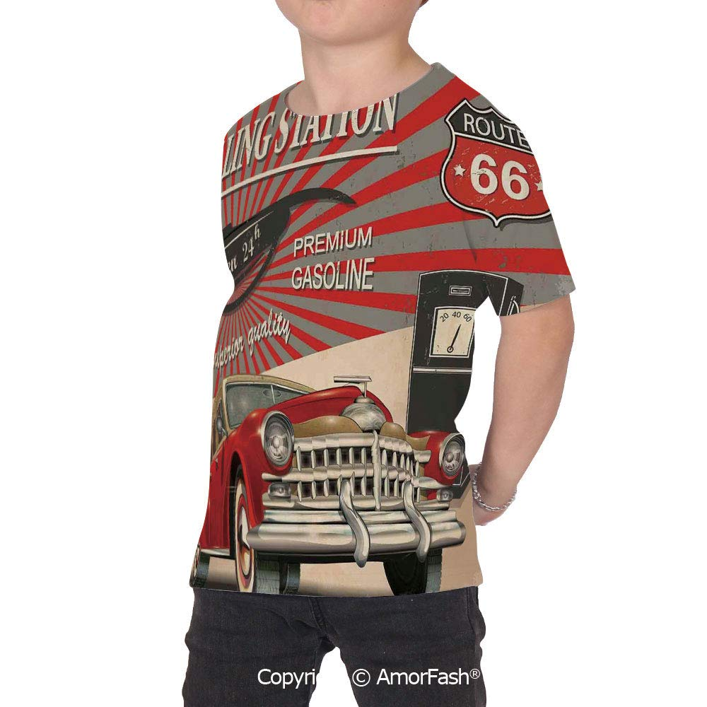PUTIEN Cars Crew Neck for Ultimate Comfort T-Shirt,Poster Style Image Gaso