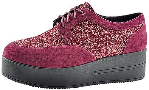 65c1bfd65 Amazon.com | Bella Marie Women's Two Tone Glitter Creeper Platform Shoe (8  B(M) US, Wine) | Shoes