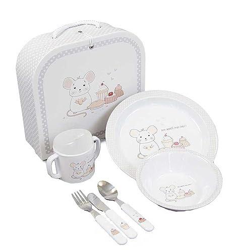 Vajilla Bebé Mon Cheri - Vajilla infantil de melamina con platos, cubiertos, vaso y fiambrera, apta para microondas y lavavajillas