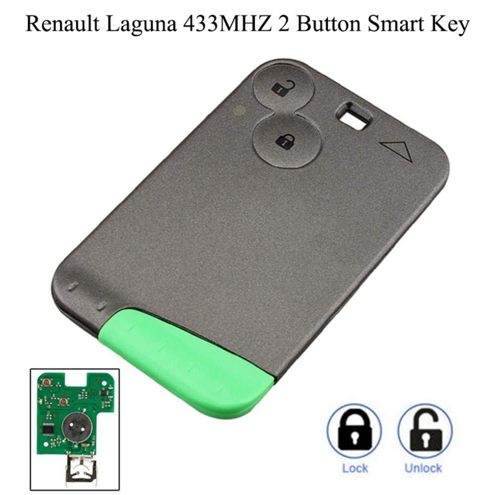 Mando a Distancia con Tarjeta Inteligente para Renault Laguna Espace 2001 a 2006 HEIRAO Llave del Coche Llave remota Inteligente de 2 Botones