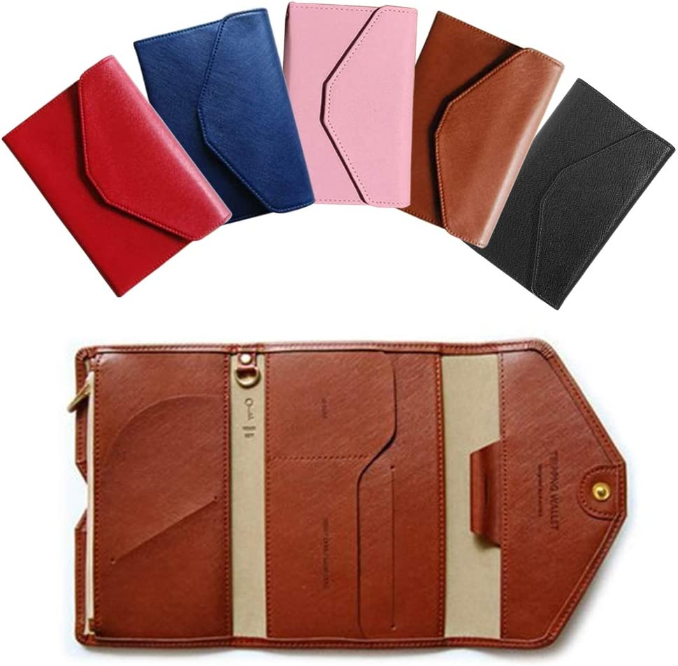 11.3x16.5x2cm,Coffee Multi-purpose Portable Soft PU Travel Card Wallet Tri-fold Ultrathin Document Organizer Holder Passport Pocket