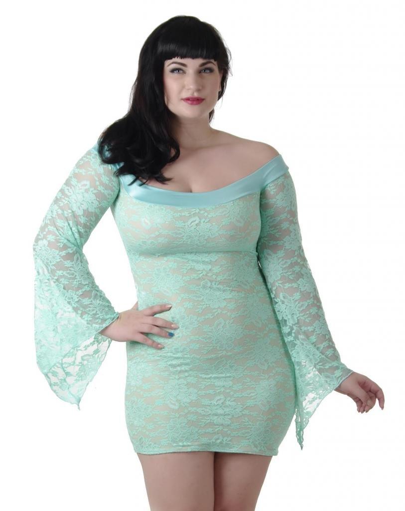Delicate Illusions Plus Size Stretch Lace Off the Shoulder Dress 11X (34-36) Mint