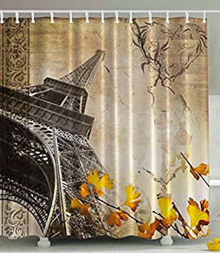Superb Eiffel Tower Shower Curtain Paris Decor Cityscape By Ambesonne, Falling  Leaves In Romantic Love Autumn