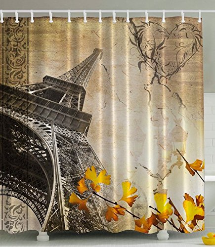 Falling Leaves Picture (Eiffel Tower Shower Curtain Paris Decor Cityscape by Ambesonne, Falling Leaves in Romantic Love Autumn Season Printed Art for Girls Boys Fabric Bath Set, 69x70 Inches Long Beige Charcoal Yellow Orange)