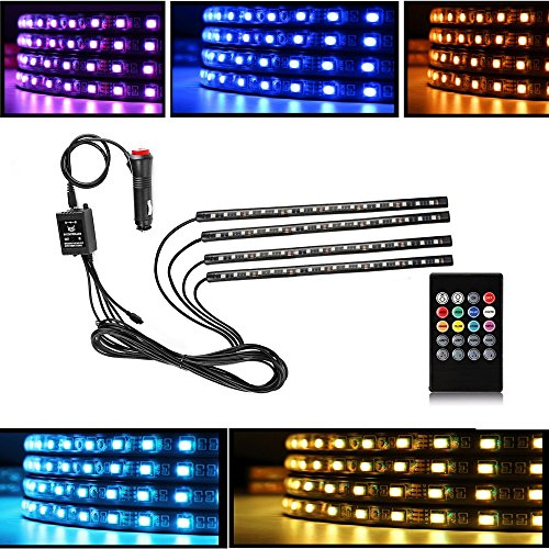 Accent 12v Accent - Car LED Interior Decorative Strip Lights, DC 12V (72 LEDs) Multicolor Music Active Car Strip Lights Under Dash Lighting Kit with Sound Active Function and Wireless Remote Control