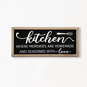 Eternhome Farmhouse Wall Decor Decorative Kitchen Sign Rustic Home Decor Metal Wood Sign Plaque Kitchen Rules Framed Wall Art 7 X 16 Inch - Handmade with Love
