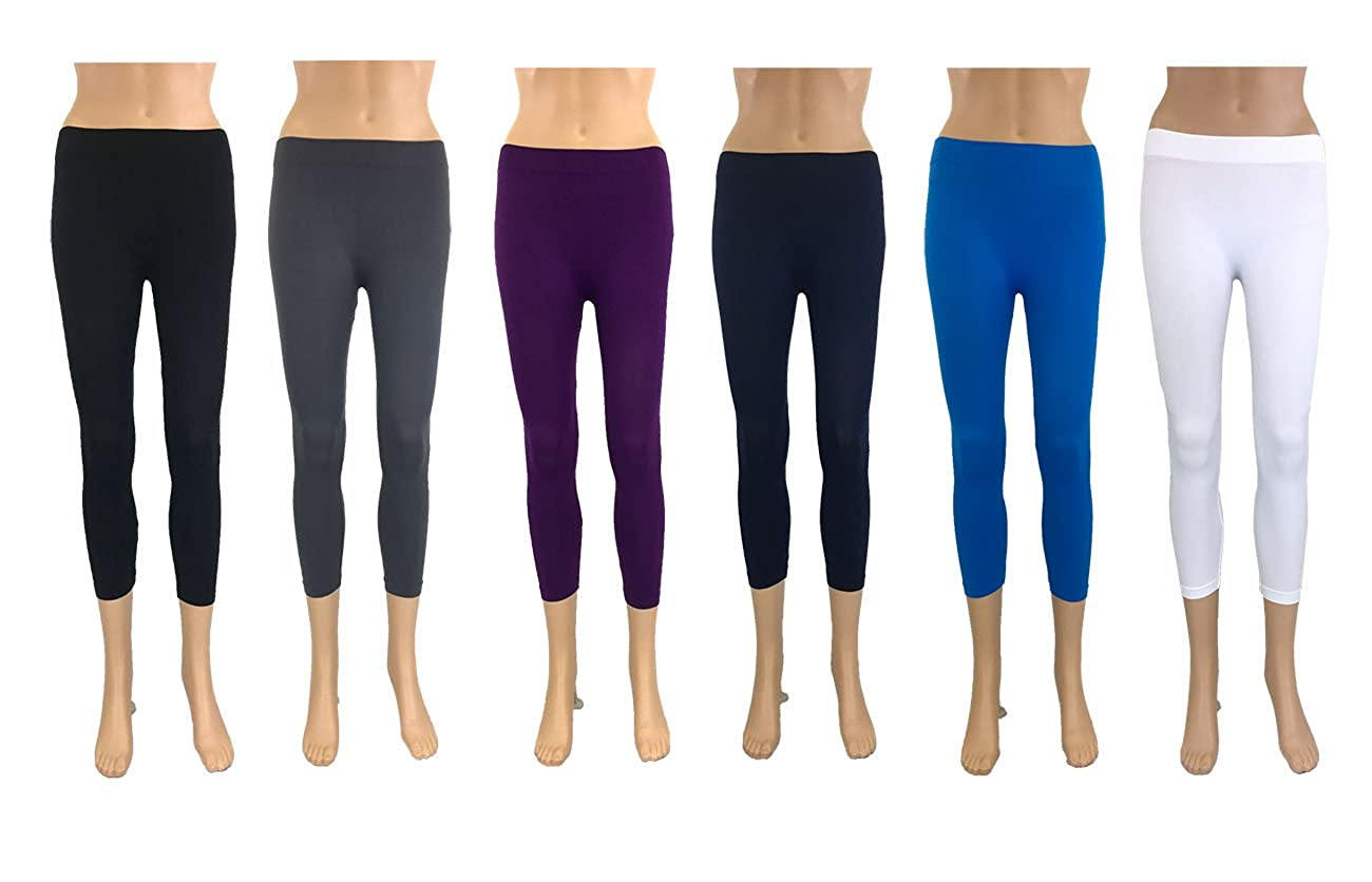459d0b979a554 The Bundle comes with 6 packs of Legging in color:  Black/Charcoal/Purple/Navy/Trq/White (One color each) 92% Nylon, 8%  Spandex. Made with a very soft, ...