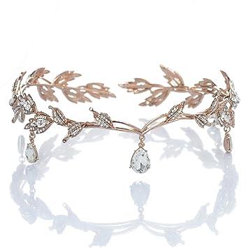 Amazon.com   Remedios Rhinestone Leaf Wedding Tiara Headband for Brides 73a3b0a01a2