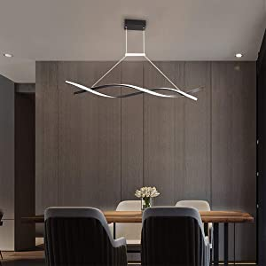 Jaycomey Modern Chandelier,32W LED Acrylic Wave Pendant Light,Contemporary Chandeliers for Dining Rooms Dinner Table Kitchen Restaurant,Cool White/6000K,Black