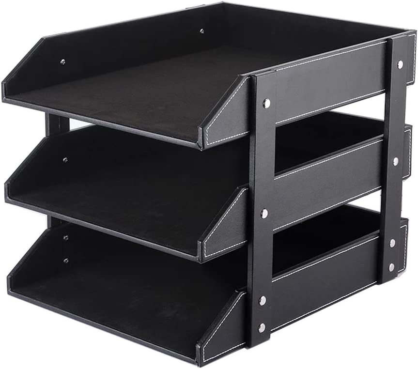 UnionBasic PU Leather Stackable Office File Document Tray Case Rack Desk File Document Organizer Holder (Black (3-Tray))