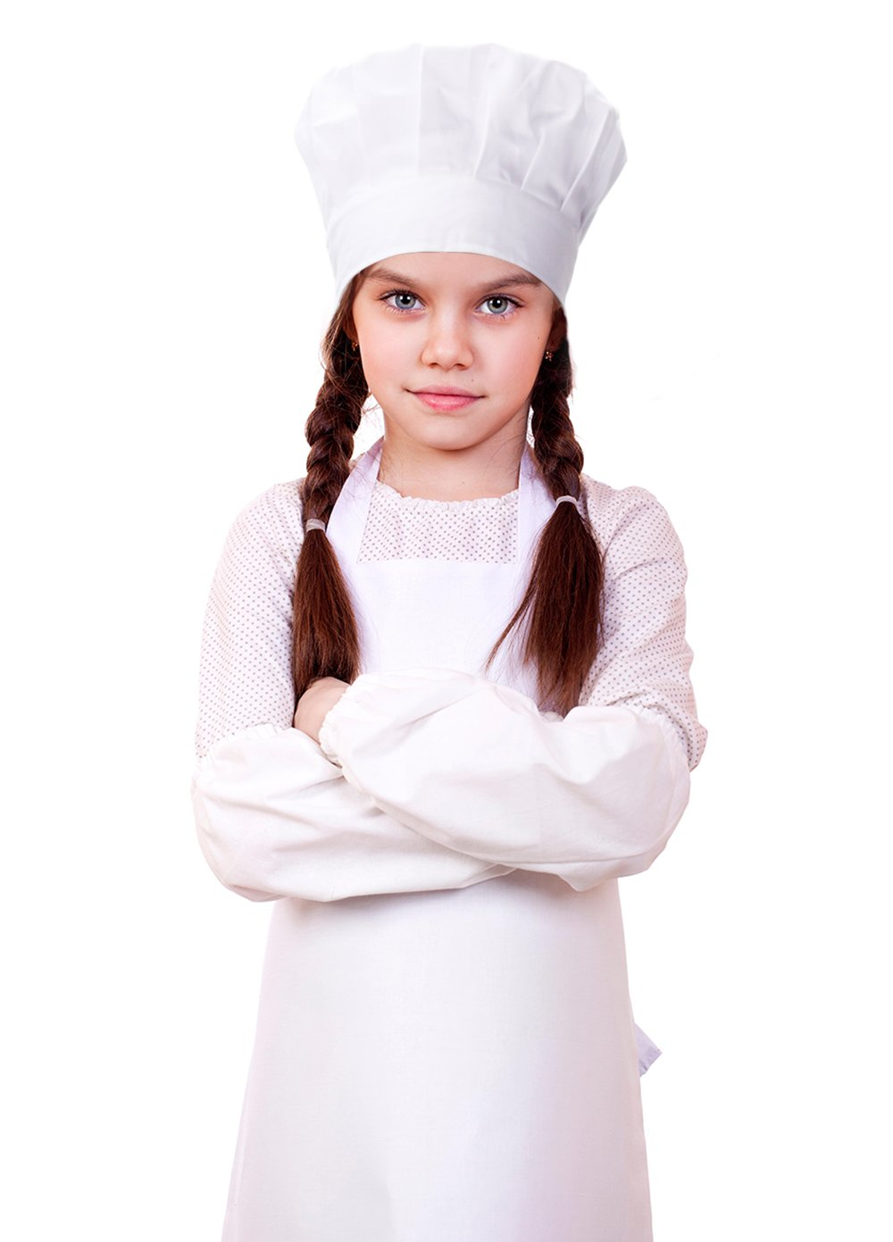 Kids Chef Set Includes Chef'Hat, Kitchen Apron, Oversleeves, 100% Cotton Costume, Perfect for Above 4 Years Old Children Cooking, Baking, Painting(White)