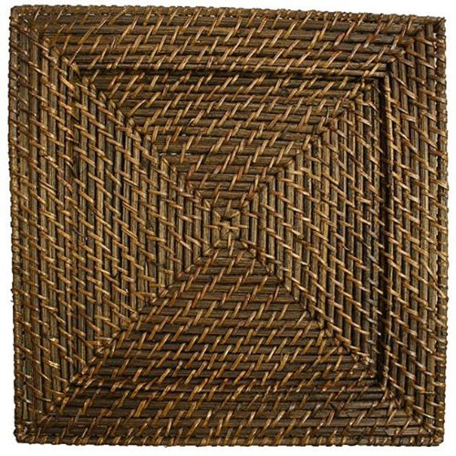 Jay Import 1660147J Square Rattan Set of 4 Chargers