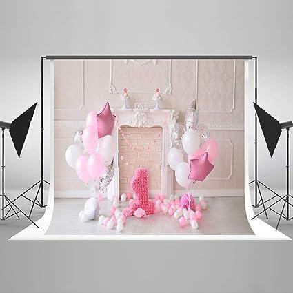 KateHome PHOTOSTUDIOS 2,2x1,5m 1stfondo fotografico Fantasía Colorido Globos Telón de Fondo Pastel de Microfiber Aplastar Fondo photocall cumpleaños