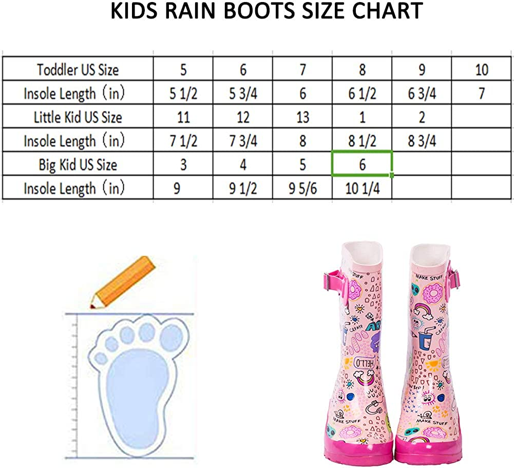 AMAWEI Kids Rain Boots for Boys Girls Toddler//Little Kids//Big Kids Rubber Waterproof Garden Shoes