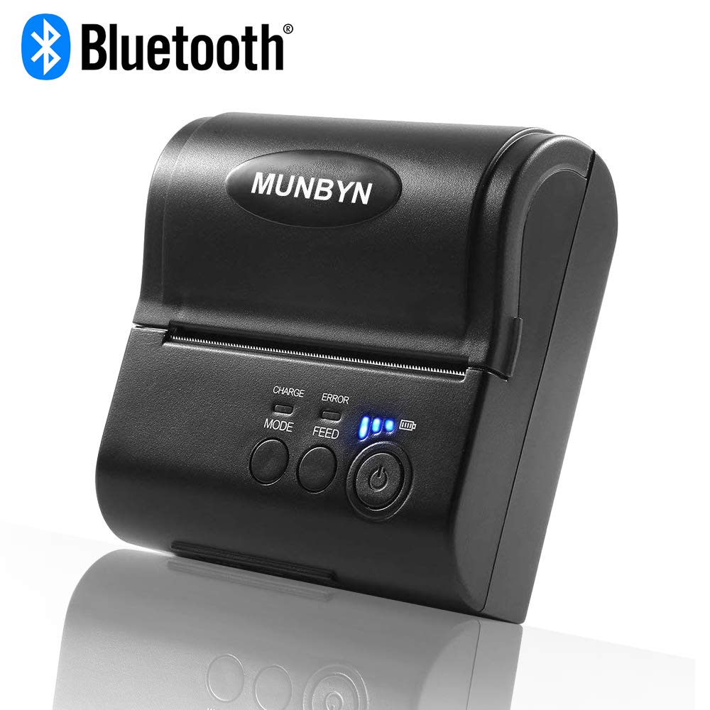 80MM 3'1/8 Mobile Thermal Receipt Printer, MUNBYN Bluetooth Android Windows  Printer,Support POS Software ESC/POS Command