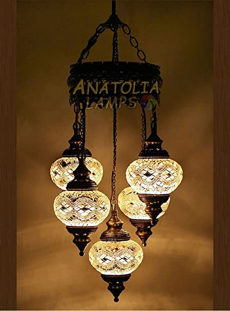 Amazon.com: Turkish Moroccan Mosaic Glass Chandelier Lights Hanging ...