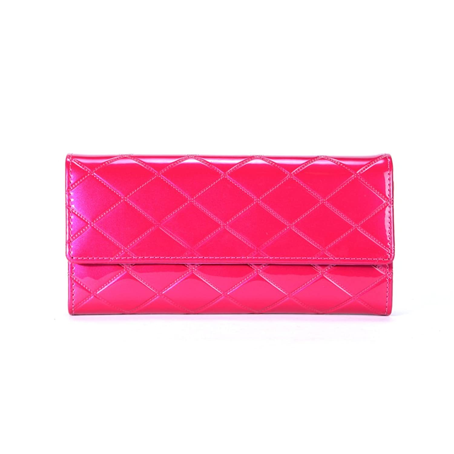 ladies leather wallet/Golden rhombic long bi-fold leather 30 percent European and American fashion wallet clutch bag