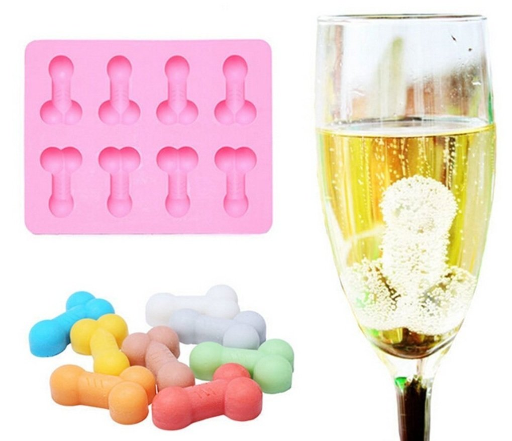 8 Cavity Chocolate Mold, Konsait Silicone Ice Mold Cube Tray For Bachelorette Party Favors and Gag Gift for Women (Pink)