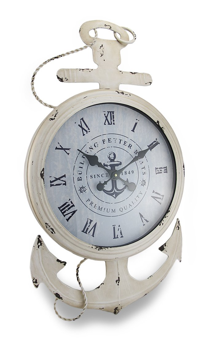 Weathered White Finish Nautical Anchor Large Metal Wall Clock
