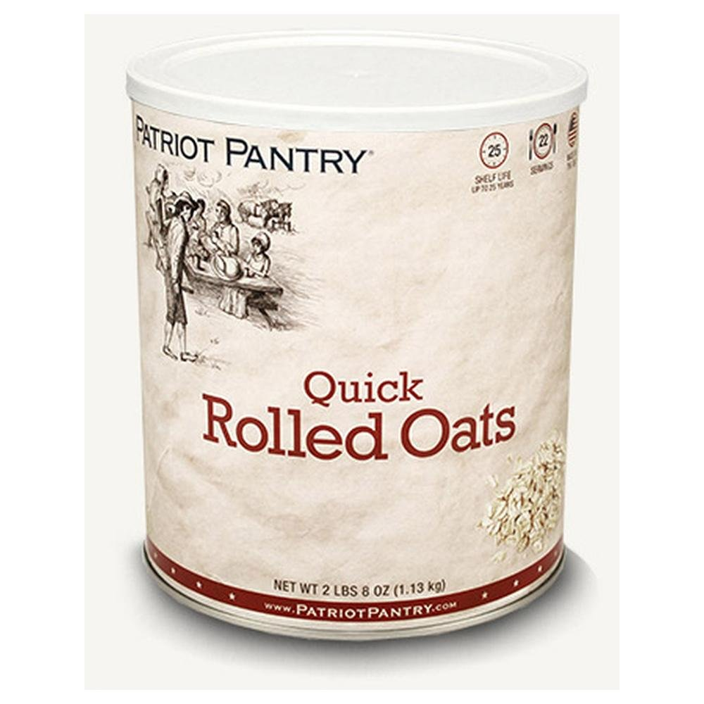 Patriot Pantry Quick Rolled Oats (22 servings) #10 Can Bulk Emergency Storage Food Supply, Up to 25-Year Shelf Life