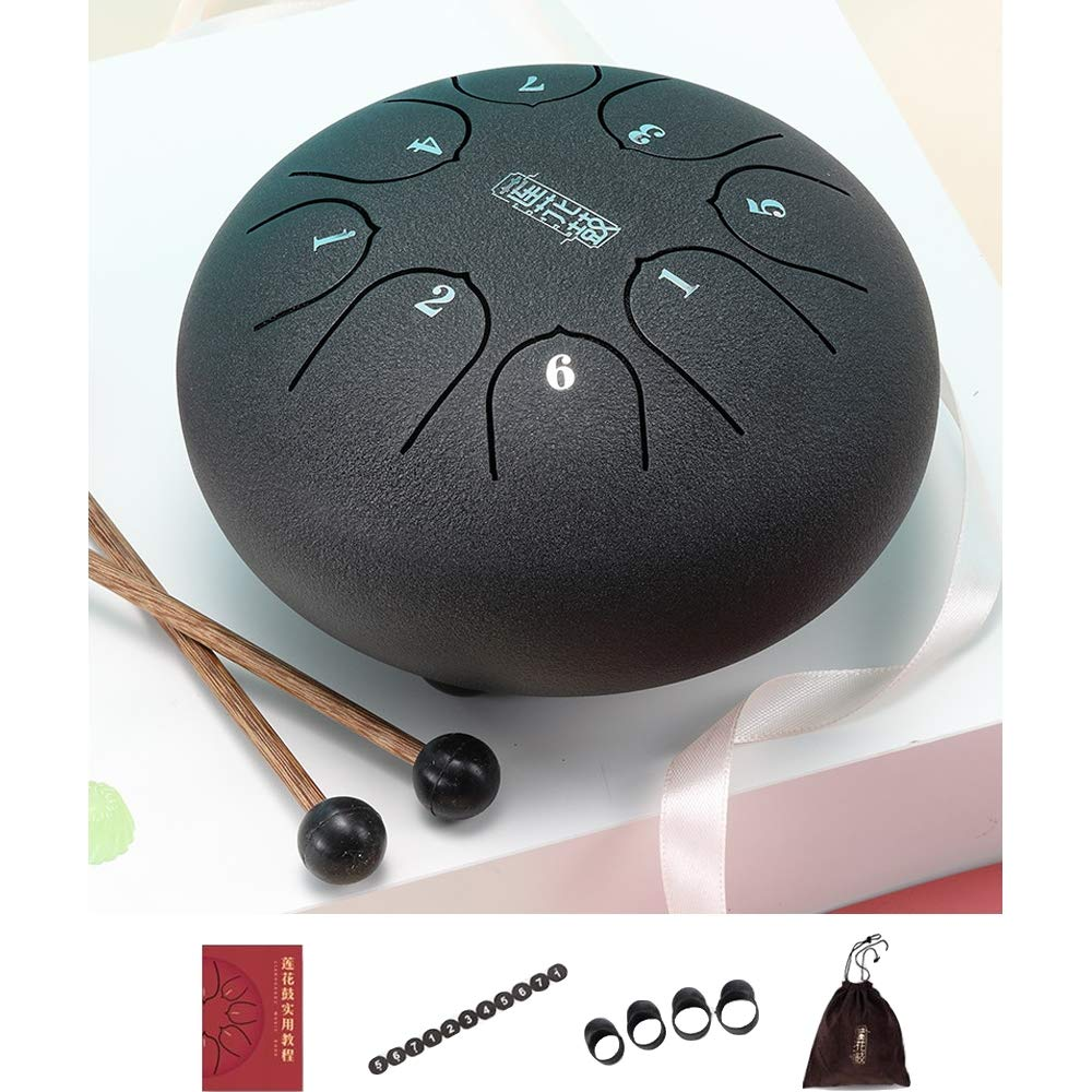 Warooms Steel Tongue Drum Kit 6 Inch 8-Tone Compact Size Percussion Instrument Hand Pan Drum, with Drum Mallets/Carry Bag/Finger Sleeve/Tutorial/Spare Sticker