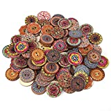 Decorative Buttons for Crafts 1 Inch,100Pcs Vintage Wood Buttons with 2 Holes for DIY Sewing Craft Decorative,Mixed Pattern