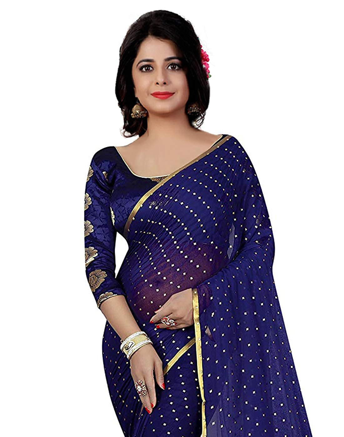c93f423b10895 Vishnu Creations Chiffon Saree With Blouse Piece (1837 Navy Blue Blue Free  Size)  Amazon.in  Clothing   Accessories