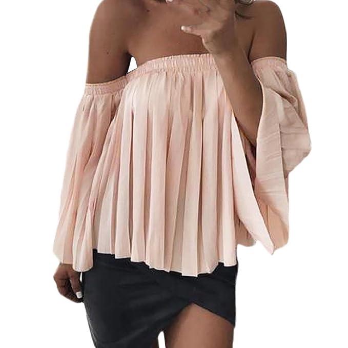 22a573f7d0faf GONKOMA Women Strapless Tops Blouse Off Shoulder Chiffon Pleated Shirt Tops  T-Shirt Blouse (