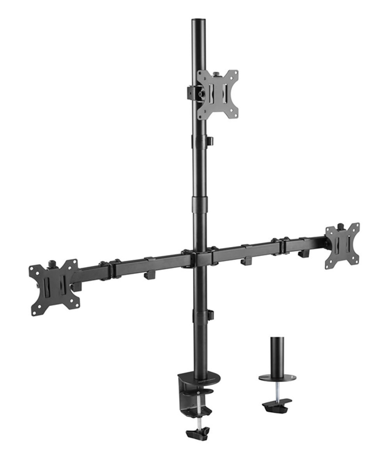 PrimeCables Triple Monitor Desk Mount Stand for 13 - 32 LCD LED Screen Display - 3 Heavy Duty Full Motion Monitor Arm with VESA 75x75 and 100x100mm Patterns (Sturdy, Ergonomics) Cab-LDT12-C036