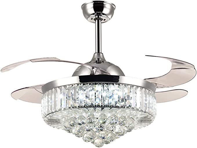 Modern Crystal Remote Control Retractable Ceiling Fan Light Chandelier Lighting