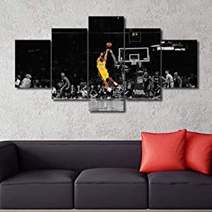 Sports Wall Art for Living Room Kobe Bryant Modern Home Decor Canvas R.I.P Pictures LA Lakers House Decorations Basketball Artwork Paitings 5 Panel Framed Posters and Prints Ready to Hang 60''Wx32''H