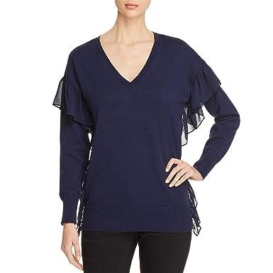 a7d4805fe0c Amazon.com  Michael Kors Womens Ruffled Ribbed Trim V-Neck Sweater ...