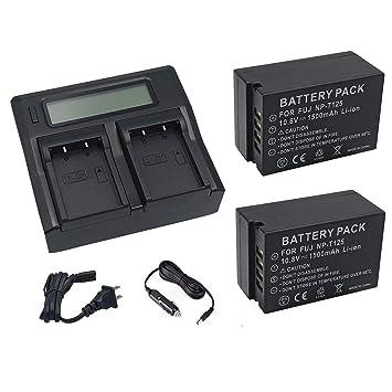 2 Piezas 1500mAH NP-T125 batería con Doble Ranura NP-T125 ...