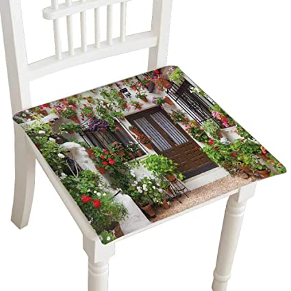 Amazon.com: Squared Seat Cushion Flowers ation of Vintage ...