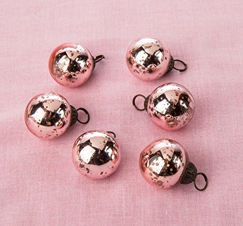 Luna Bazaar Mini Mercury Glass Ornaments (Ava Classic Ball Design, 1-1.5 Inches, Rose Gold, Set of 6) - Vintage-Style Mercury Glass Christmas Ornaments (Christmas Rose Ornaments)
