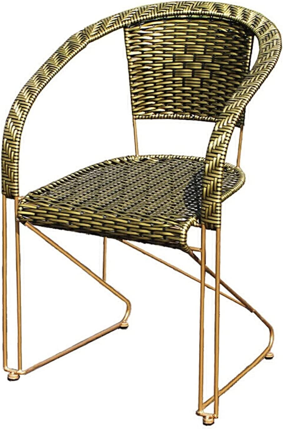 ZJDU All-Weather Wicker Chair, Wicker Stacking Chair,Metal Frame,Patio Balcony Furniture Dining Seats,Outdoor Dining Chair for Outside Patio Tables,Green