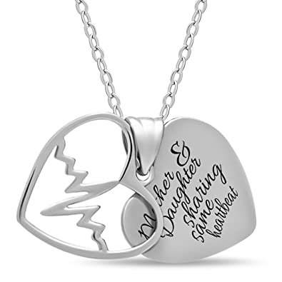 Amazon mother day gift 925 sterling silver mother daughter mother day gift 925 sterling silver mother daughter heart necklace for mom or daughter engraved aloadofball Choice Image