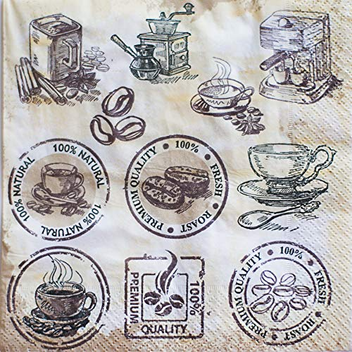 - Paper Tissue Napkins 3-ply 13x13 in with print, 20/pkg pack. Coffee themed. Perfect for Party, Birthday, Home and Restaurant. Made in Europe.