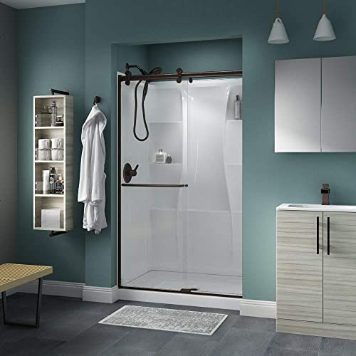 Delta Shower Doors SD3957002 Classic Semi-Frameless Contemporary Sliding Shower 48 x71 , Bronze Track
