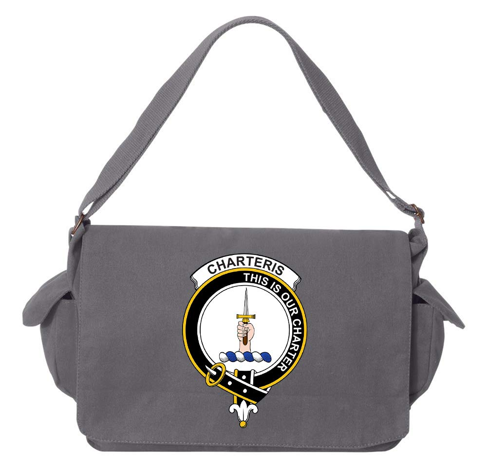 Tenacitee Scottish Clan Crest Badge Charteris Red Brushed Canvas Messenger Bag