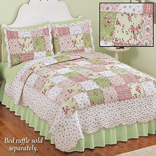 Collections Etc Country Bloom All Over Floral Patchwork-Style Reversible Lightweight Quilt, Full/Queen by Collections Etc (Image #1)
