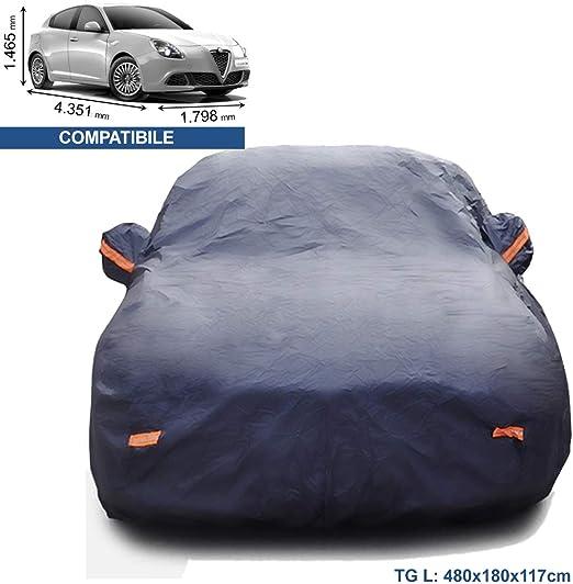 Tuqiang Telo Copriauto per F ORD Fiesta Impermeabile Pieghevole Anti UV Copriauto con Strisce Fluorescenti Film di Alluminio 415 * 175 * 155CM