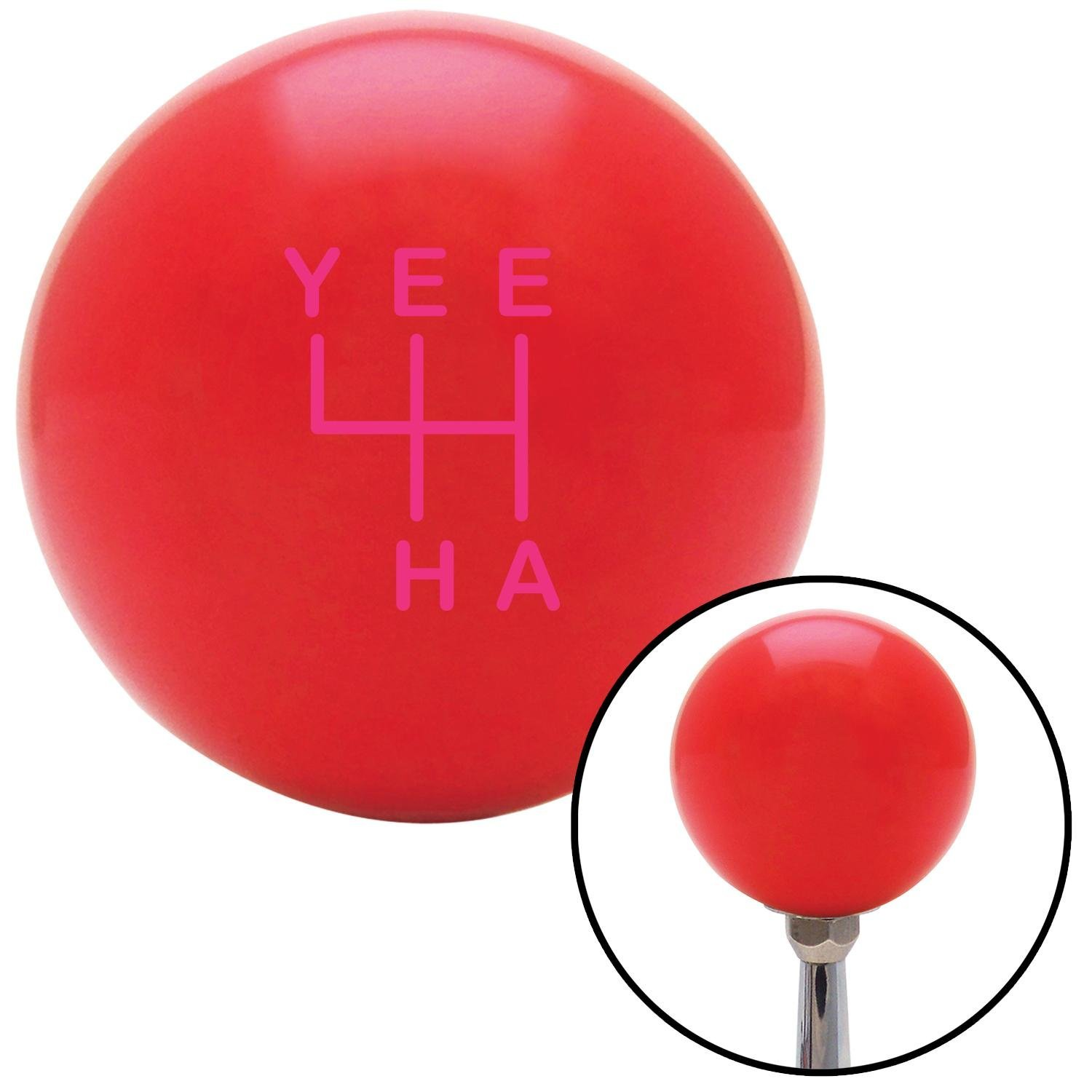 American Shifter 301356 Shift Knob Pink YeeHa 4 Speed Red with M16 x 1.5 Insert