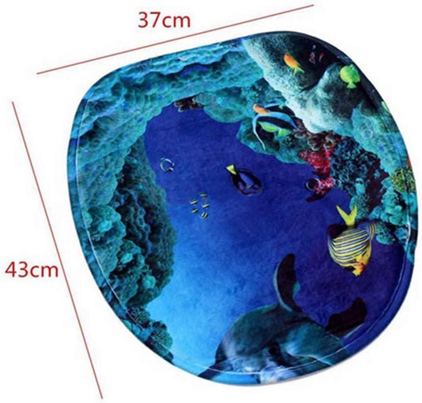 3 Pezzi Set tappetini Bagno Sea World Tappetino da Bagno Tappetino coprivaso Antrae Set tappeti Bagno Antiscivolo piedistallo