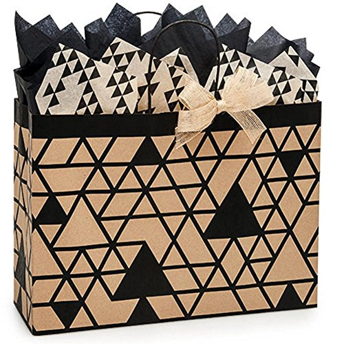 Kinetic Ink Kraft and Black Paper Shopping Bags - Vogue Size - 16 x 6 x 12in. - 250 Pack by NW