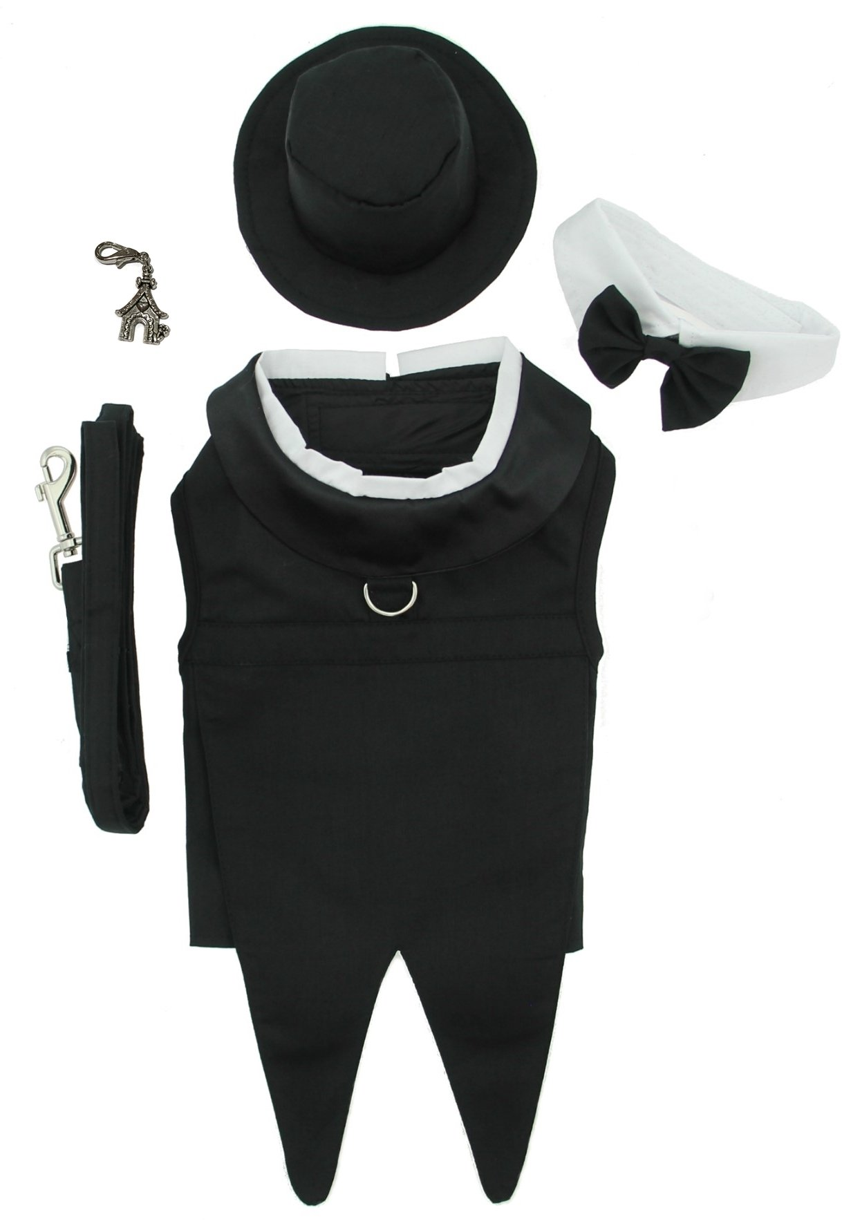 DOGGIE DESIGN Formal Wedding Tuxedo Harness Suit with Clip Charm - Hat and Leash - Black Tails - for Dog Size (L- Chest 19-21'', Neck 14-17'', Black Formal) by DOGGIE DESIGN
